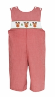 Petit Bebe Baby / Toddler Boys Red Check Smocked Reindeer Faces Longall