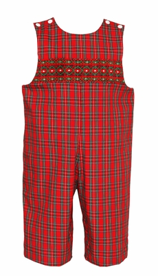 Petit Bebe Baby / Toddler Boys Red Holiday Plaid Smocked Longall