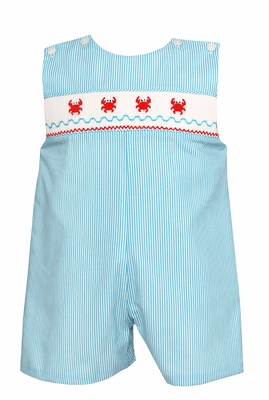 Petit Bebe Baby / Toddler Boys Turquoise Stripe Smocked Crabs Jon Jon