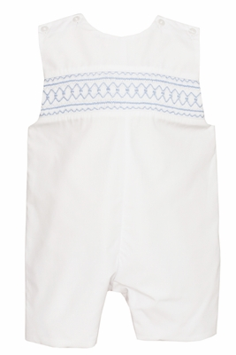 Petit Bebe Baby / Toddler Boys White Poplin Jon Jon - Smocked in Blue