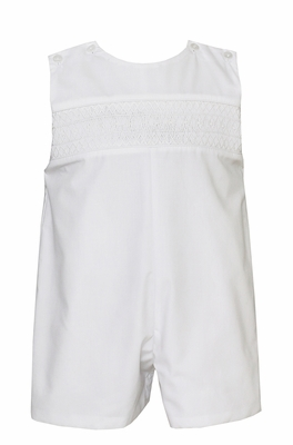 Petit Bebe Baby / Toddler Boys White Poplin Jon Jon - Smocked in White
