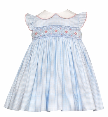 Petit Bebe Baby / Toddler Girls Blue Check Smocked Dress with Collar