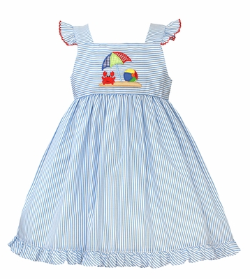 Petit Bebe Baby / Toddler Girls Blue Stripe Beach Crab Ruffle Dress