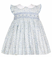 Petit Bebe Baby / Toddler Girls Blue Floral Smocked Dress with Collar