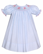 Petit Bebe Baby / Toddler Girls Blue Stripe Smocked Pink Easter Bunnies Dress - Bishop