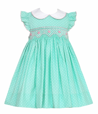 Petit Bebe Baby / Toddler Girls Mint Green / White Dots Smocked Dress with Ruffle Sleeves