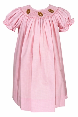 Petit Bebe Baby / Toddler Girls Pink Check Smocked Footballs Bishop Dress