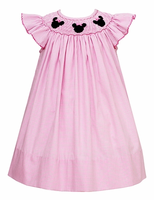 Petit Bebe Baby / Toddler Girls Pink Check Smocked Mouse Ears Dress