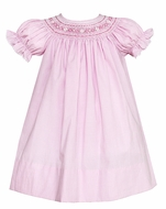 Petit Bebe Baby / Toddler Girls Pink Mini Check Smocked Bishop Dress