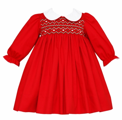 49dd3fb24 Petit Bebe Baby   Toddler Girls Red Twill Smocked Valentina Dress ...