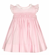 Petit Bebe Baby / Toddler Girls Smocked Dress - Ruffle Collar & Flutter Sleeves - Pink Poplin