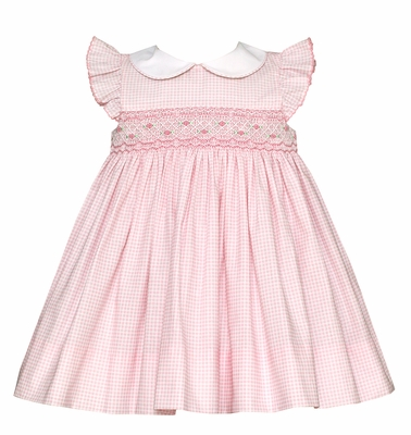 Petit Bebe Baby / Toddler Girls Smocked Dress - Peter Pan Collar & Flutter Sleeves - Pink Gingham