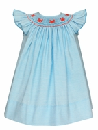 Petit Bebe Baby / Toddler Girls Turquoise Stripe Smocked Crabs Dress