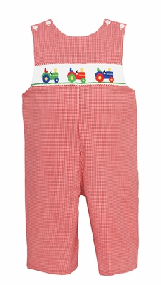Petit Bebe by Anavini Baby Boys Red Check Smocked Tractor Longall