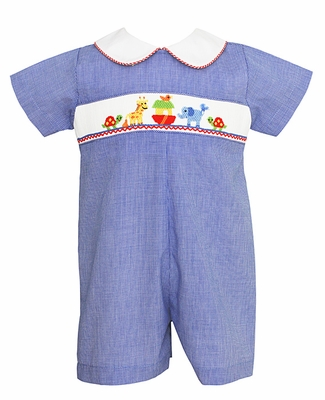 a6aace656 Petit Bebe by Anavini Baby Boys Royal Blue Check Smocked Noah s Ark ...