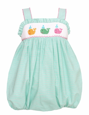 Petit Bebe by Anavini Baby Girls Aqua Striped Smocked Fun Whales Sun Bubble