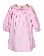 Petit Bebe by Anavini Baby Girls Pink Corduroy Smocked Birthday Balloons Dress - Long Sleeves