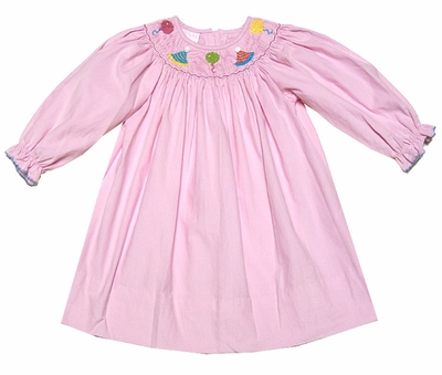 Petit Bebe by Anavini Baby Girls Pink Corduroy Smocked Birthday Hats & Balloons Dress - Long Sleeves