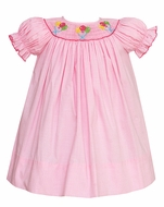 Petit Bebe by Anavini Baby Girls Pink Mini Check Smocked Birthday Balloons Bishop Dress - Short Sleeves