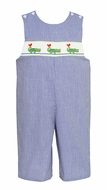 Petit Bebe by Anavini Baby / Toddler Boys Blue Check Smocked Green Alligators Longall