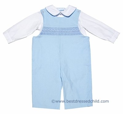 Petit Bebe by Anavini Baby / Toddler Boys Blue Corduroy Smocked Longall with Shirt