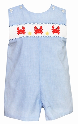 Petit Bebe by Anavini Baby / Toddler Boys Blue Micro Check Shortall - Smocked with Red Crabs