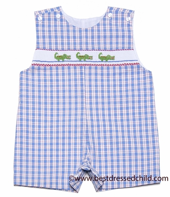 Petit bebe by anavini baby toddler boys blue plaid smocked green gators sun - Plaid bebe petit pan ...