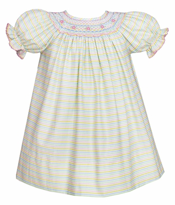 Petit Bebe by Anavini Baby / Toddler Girls Pastel Striped Dress - Smocked in Pink