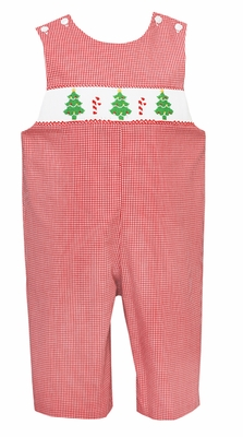 Petit Bebe by Anavini Baby / Toddler Boys Red Check Smocked Green Christmas Trees Longall