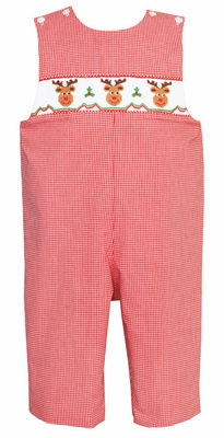 Petit Bebe by Anavini Baby / Toddler Boys Red Check Smocked Reindeer Longall