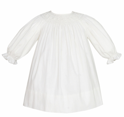 Petit Bebe by Anavini Baby / Toddler Girls Winter White Corduroy Smocked Bishop Dress with Pearls - Long Sleeves