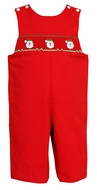 Petit Bebe by Anavini Baby / Toddler Boys Red Twill Smocked Santa Claus Longall