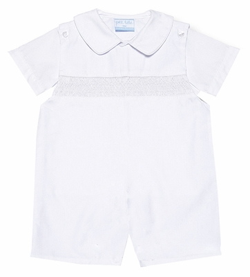 Petit Bebe by Anavini Baby / Toddler Boys White Poplin Smocked Shortall with Shirt