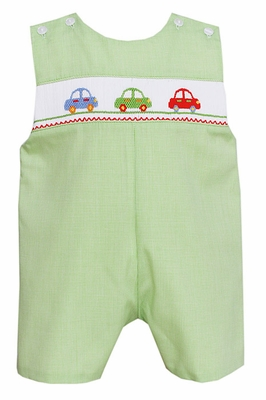 Petit Bebe by Anavini Baby / Toddler Boys Green Micro Check Smocked Cars Shortall