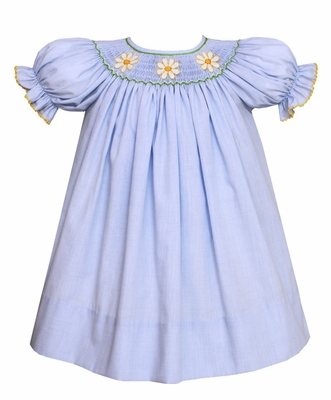 Petit Bebe by Anavini Baby / Toddler Girls Blue Micro Check Smocked Daisies Dress