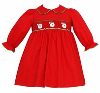 Petit Bebe by Anavini Baby / Toddler Girls Red Twill Smocked Santa Claus Dress - Long Sleeves