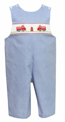 Petit Bebe by Anavini Baby / Toddler Boys Blue Check Smocked Red Firetrucks Longall