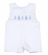 Petit Bebe by Anavini Infant / Toddler Boys Blue Smocked Anchors & Sailboats on White Poplin Shortall