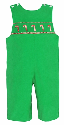 Petit Bebe by Anavini Infant / Toddler Boys Green Corduroy Smocked Candy Canes Longall