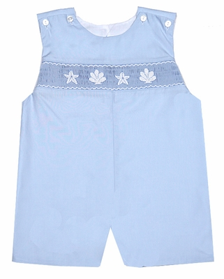 Petit Bebe by Anavini Infant / Toddler Boys Blue Poplin Smocked Seashell & Starfish Shortall