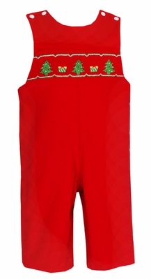 Petit Bebe by Anavini Infant / Toddler Boys Red Corduroy Smocked Christmas Trees Longall