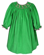 Petit Bebe by Anavini Infant / Toddler Girls Green Corduroy Smocked Candy Canes Dress - Long Sleeves