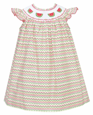 Petit Bebe by Anavini Infant / Toddler Girls Green / Red Chevron Smocked Watermelons Dress