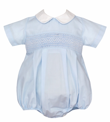 Petit Bebe Infant Boys Blue Poplin Smocked Bubble with Collar