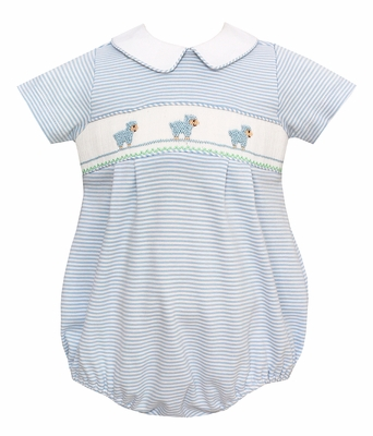 Petit Bebe Knits Infant Boys Blue Striped Smocked Baby Lambs Bubble