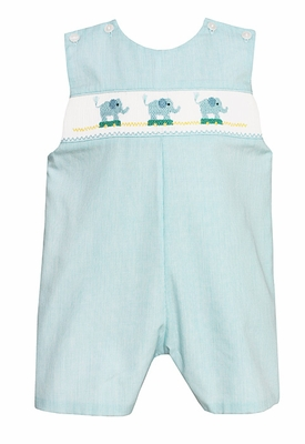 Petit Bebe Infant Boys Turquoise Striped Smocked Elephants Shortall