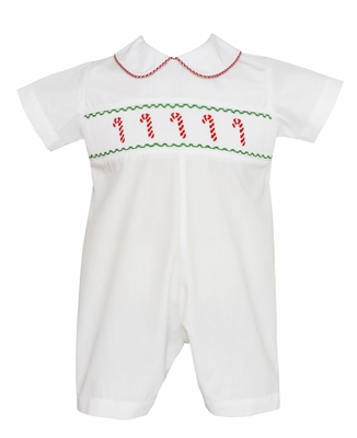 Petit Bebe Infant Boys White Poplin Smocked Candy Canes Short Romper