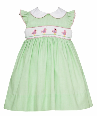 Petit Bebe Infant Girls Green Stripe Smocked Baby Birds Dress with Collar