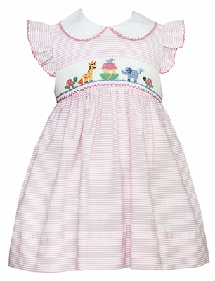 Petit Bebe Infant Girls Pink Stripe Smocked Noah's Ark Animals Dress with White Collar