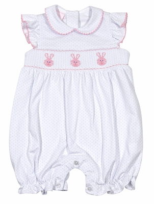 Petit Bebe Knits Infant Girls White / Blue Dots Smocked Pink Easter Bunnies Bubble